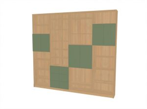 Regal mit partiellen grünen Türen