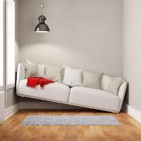 Sofa steht schräg in einem zu kleinen Raum