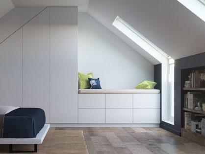 Einen Kleiderschrank mit Sitzbank in der Dachschräge gestalten