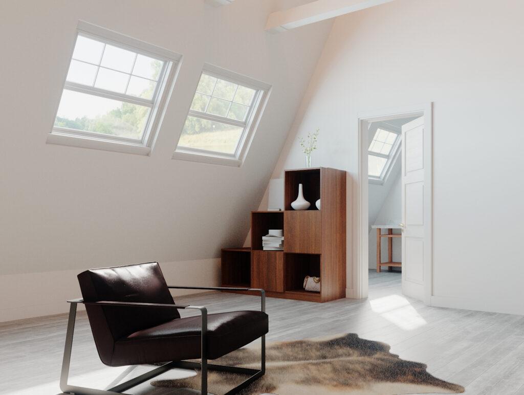 Stufenregal im Wohnzimmer im Holzton