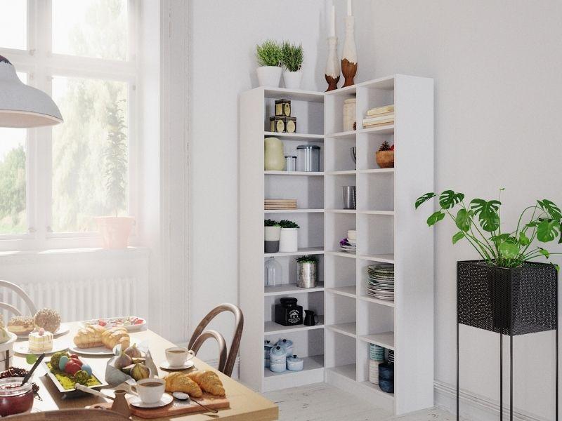 Eckregal als Stauraum für Küchengeräte