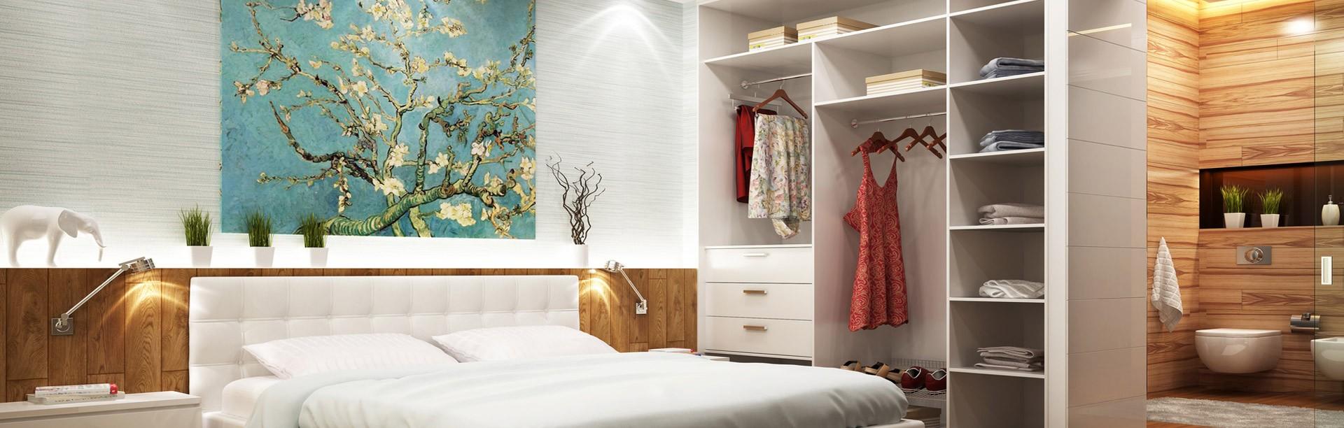 Elegant Regalsystem Von Schrankwerk Im Schlafzimmer